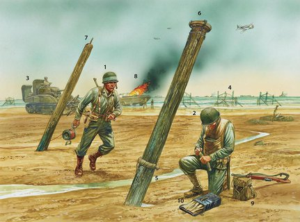 American engineers clearing obstacles during D-Day (image from 'D-Day Beach Assault Troops' by Gordon L Rottman © Osprey Publishing, part of Bloomsbury Publishing)