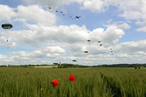Parachutists recreate the D-Day airborne jumps above poppy fields