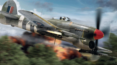 An RAF Typhoon, used to strafe ground targets like German tanks during D-Day (image: Airfix is a registered trademark of Hornby Hobbies Ltd, and use of the illustrations has been kindly permitted by Hornby Hobbies Ltd © 2018)